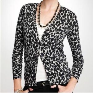Ann Taylor Animal Print Cardigan Sweater Sz S